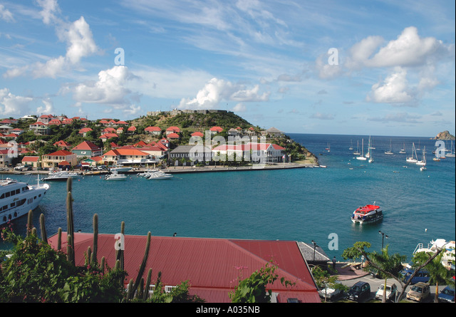 St Barths St Barts above Gustavia Harbor fort overlooking the city - Stock Image