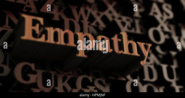 empathy - Wooden 3D rendered letters/message.  Can be used for an online banner ad or a print postcard. - Stock Image