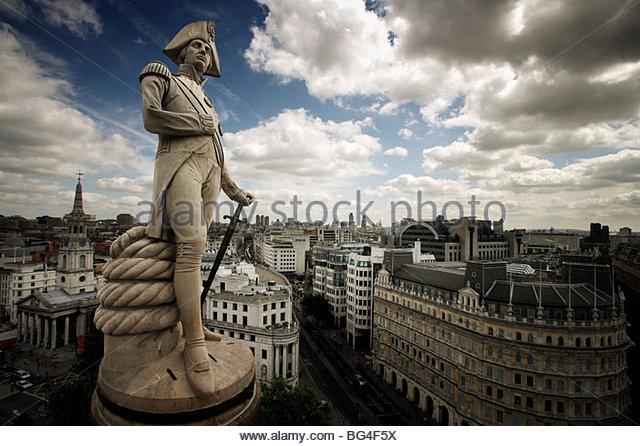 Nelsons Column, Trafalgar Square, London, England, United Kingdom, Europe - Stock Image