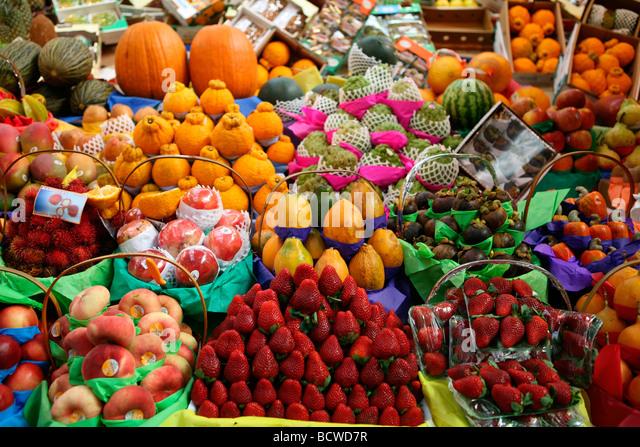 Fruits stall in a market, Sao Paulo, Sao Paulo State, Brazil - Stock Image