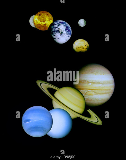 Composite image depicting the planets in the terrestrial Solar System. - Stock Image