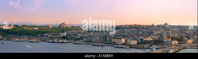 Panorama of Sultanahmet from Galatasary Tower, Istanbul, Turkey - Stock Image