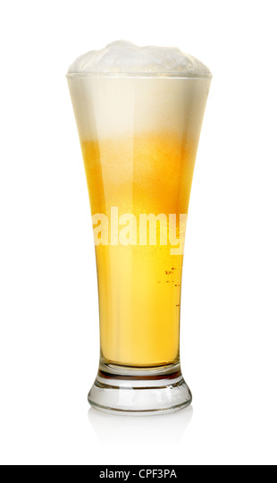 Glass of beer isolated on a white background. Clipping path - Stock Image