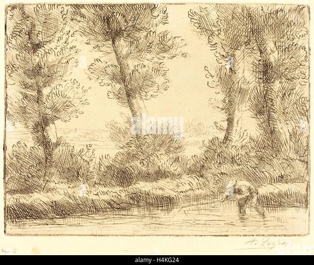Alphonse Legros, Banks of the Liane (Les bords de la Liane), French, 1837-1911, etching - Stock-Bilder