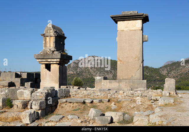 Harpy monument and Lycian tomb, Xanthos, Kalkan, Lycia, Antalya Province, Southwest Turkey, Anatolia, Turkey - Stock Image