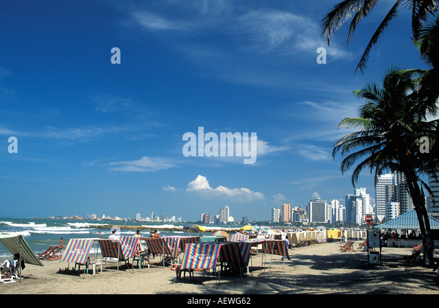 Cartagena Colombia South America Boca Grande Beach City Skyline - Stock Image