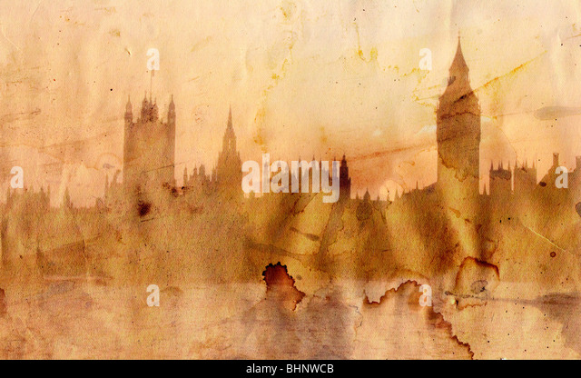Panorama of London - Big Ben and towers of Westminster - in grunge style - Stock Image