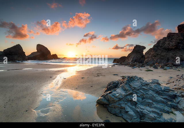 Sunset at Porthcothan bay on the north Cornwall coast - Stock Image