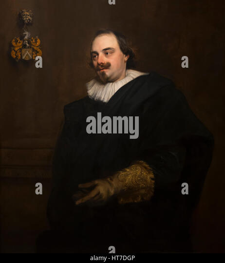 Portrait of Peeter Stevens, by Anthony van Dyck, 1627, Royal Art Gallery, Mauritshuis Museum, The Hague, Netherlands, - Stock Image