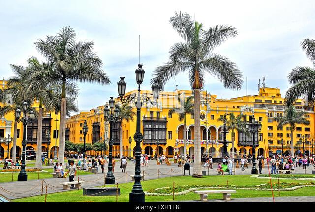 Plaza Mayor plaza de Armas Lima Peru South America - Stock Image