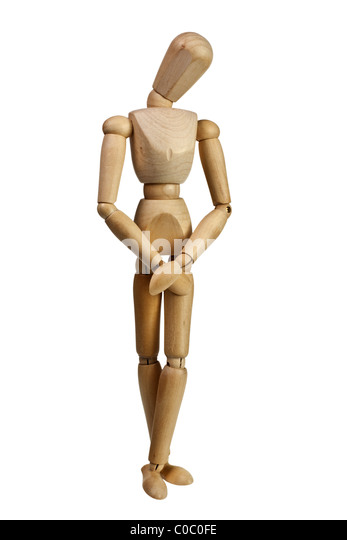 Wooden mannequin looking bashful isolated on white background - Stock Image