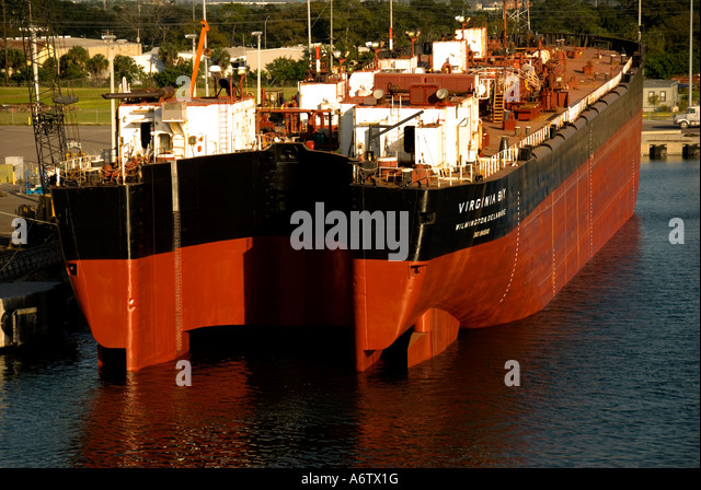 Tampa Bay Florida  Port of Tampa cargo ship at dock - Stock Image