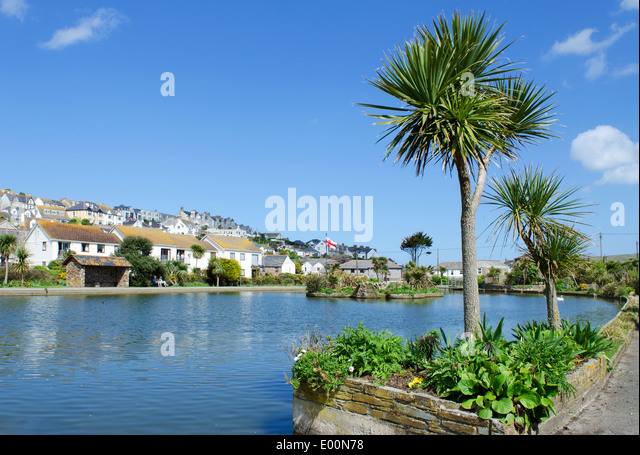 The boating lake at Perranporth in Cornwall, UK - Stock Image