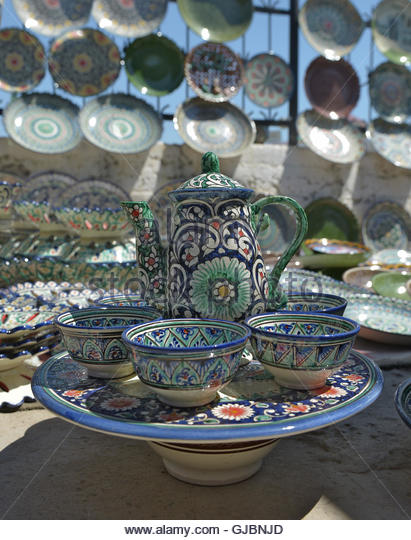 Eastern tea sets and Uzbek Souvenirs are sold at the Central Bazaar in Tashkent. - Stock Image