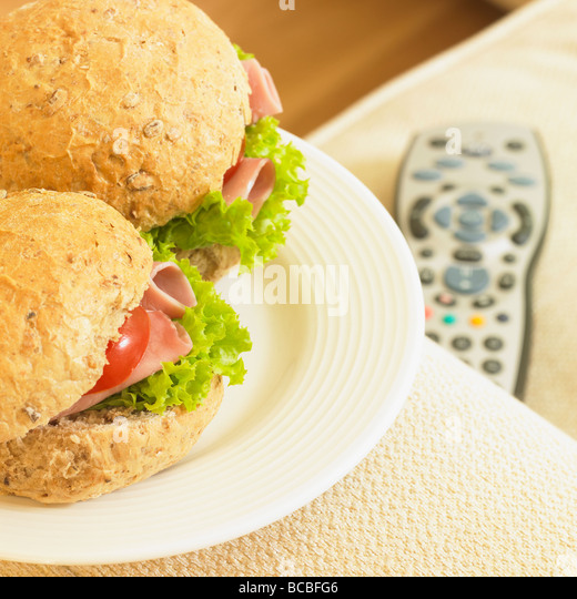 Healthy TV snack. - Stock Image