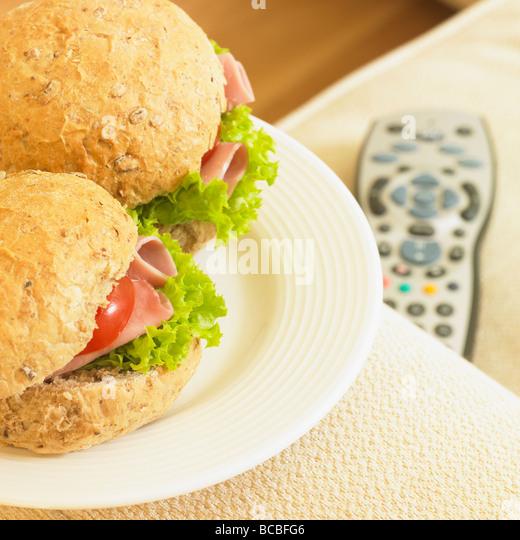 Healthy TV snack. - Stock Image