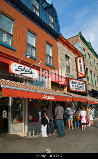 Schwatz's famous smoked meat restaurant on boulevard saint laurent montreal - Stock Image