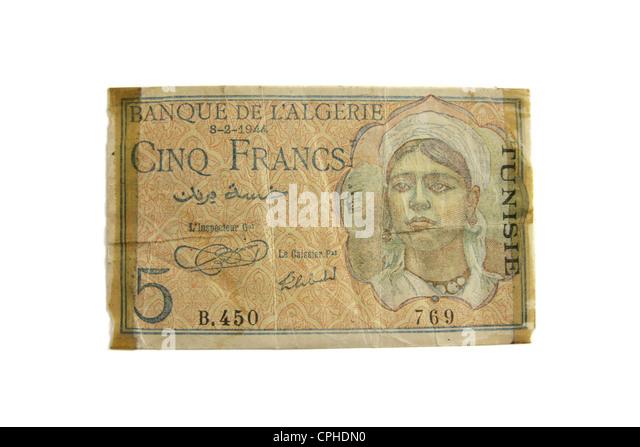 1944 Tunisia (Algeria) 5 Francs. - Stock Image