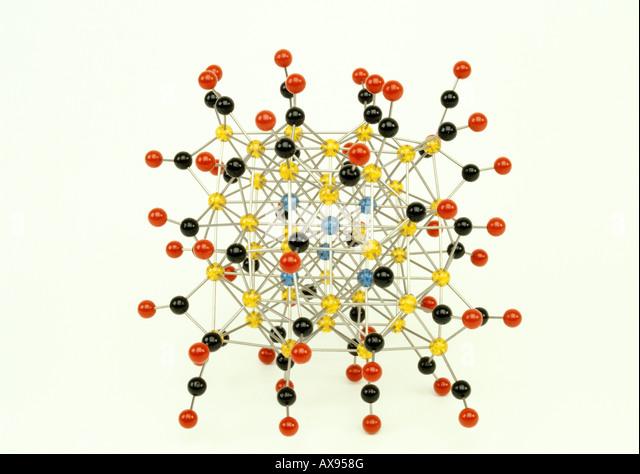 Molecular model of a cluster Fe4(10)xH2O - Stock Image