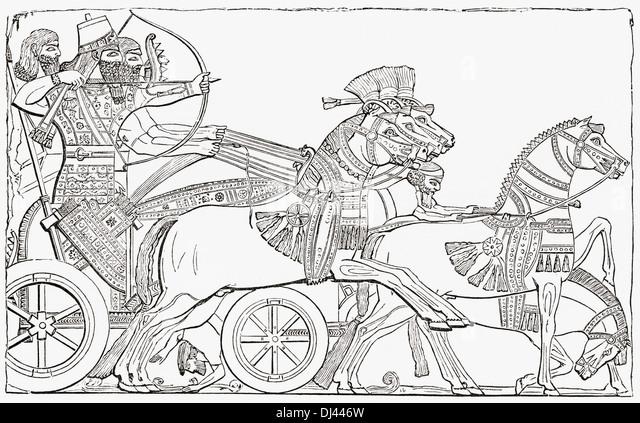 Assyrian war chariot. - Stock Image