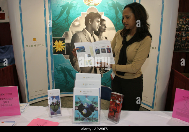 Miami Beach Florida Convention Center Wine and Spirits Expo Bermuda Tourism booth Black - Stock Image