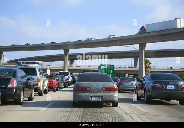Traffic on the 405 Freeway, Los Angeles, California, USA - Stock Image