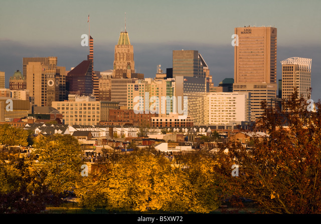 Autumnal skyline of Baltimore Maryland - Stock-Bilder