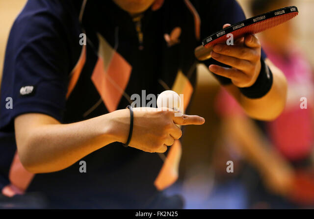 Osaka, Japan. 5th Mar, 2016. Detail shot Table Tennis : Japan Open Para Table Tennis Championships at Amity Maishima - Stock-Bilder