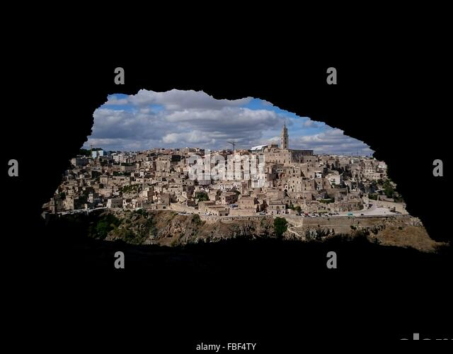 Townscape Against Sky Seen Through Hole - Stock Image