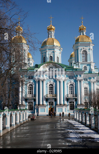 St. Nikolas's Cathedral, St. Petersburg, Russia, Europe - Stock Image