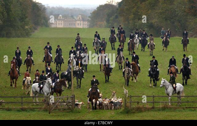 Badminton House, on the Badminton Estate during a hunt. - Stock Image