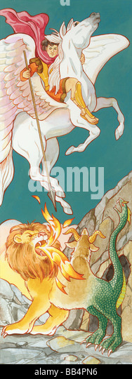 Pegasus, the winged horse of Greek mythology, featured in many stories. - Stock Image