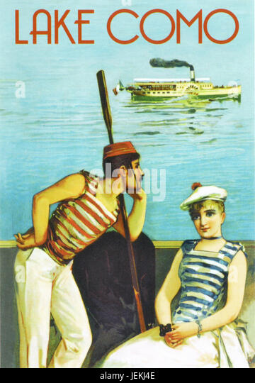 LAKE COMO, Italy. Promotional poster about  1910 with a steamboat ferry in the background and a sailor perhaps reflecting - Stock-Bilder