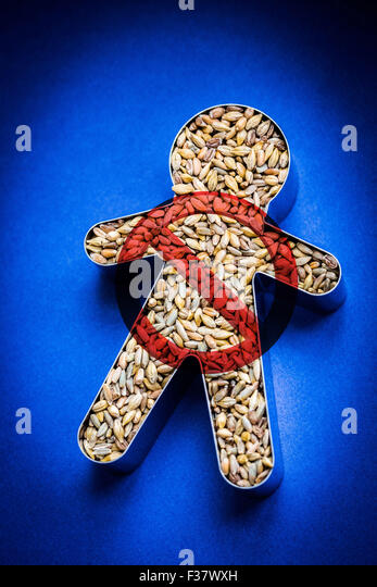 Foods containing gluten( selt, wheat, rye, barley ). - Stock Image