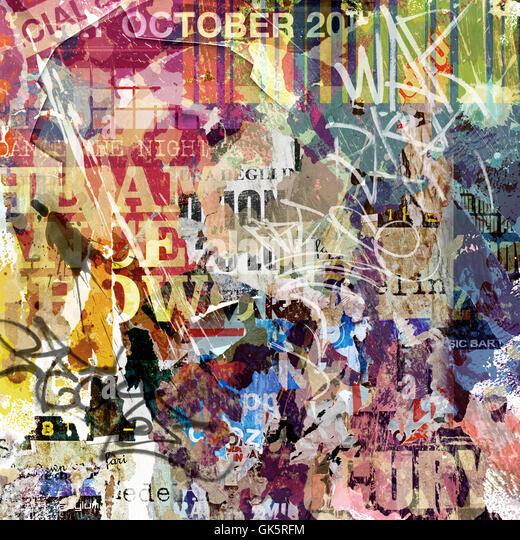 poster daub graffiti - Stock Image