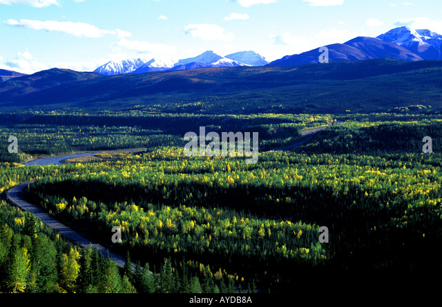 Alaska wilderness in Denali area mountains snow - Stock Image
