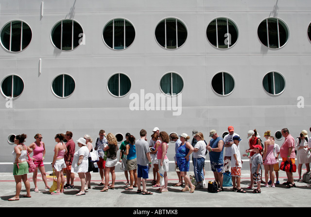 Sint Maarten Great Bay Philipsburg Dutch cruise ship port Serenade of the Seas passengers line - Stock Image