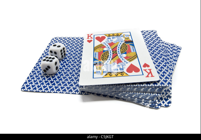 playing-cards and bones are isolated on white - Stock-Bilder