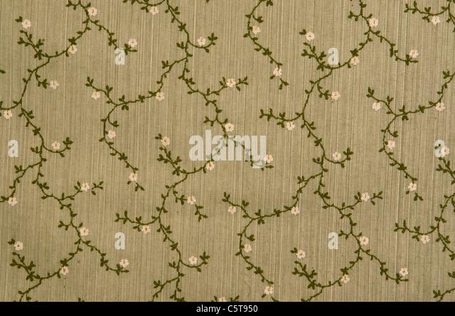 Floral fabric wallpaper, full frame - Stock Image