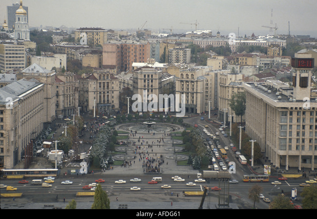 Ukraine Kiev Independence Square buildings traffic plaza - Stock Image