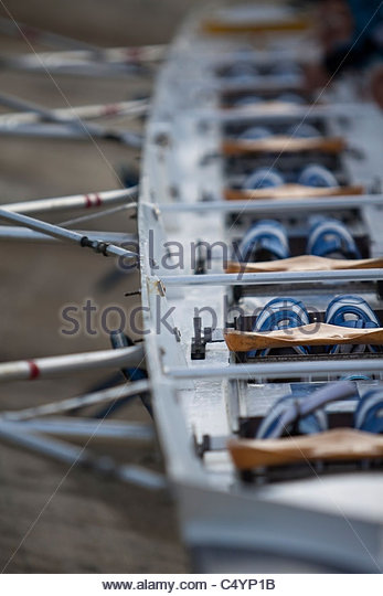 Rowing canoe detail. - Stock Image