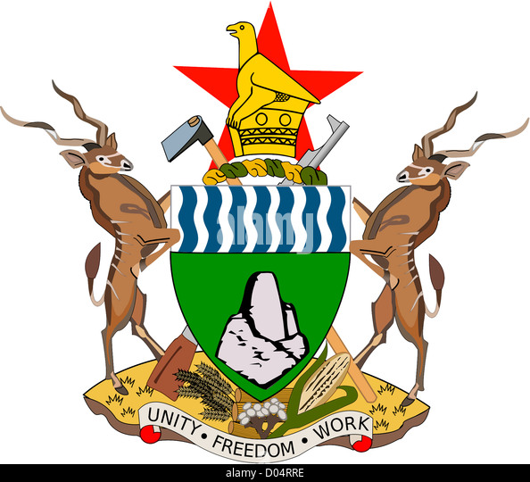 National coat of arms of the Republic of Zimbabwe. - Stock Image