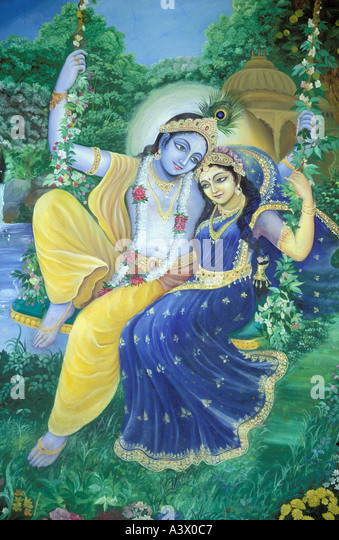 india uttar pradesh vrindavan Murals showing Krishna and Radha - Stock Image
