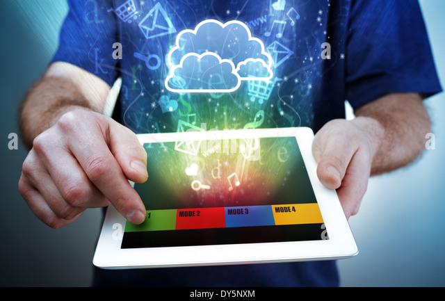 Digital tablet, multimedia and cloud computing - Stock-Bilder