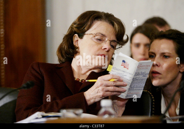 Senator Dianne Feinstein The Senate Judiciary Committee hearing for Eric Holder, President-Elect Obama's nominee - Stock Image