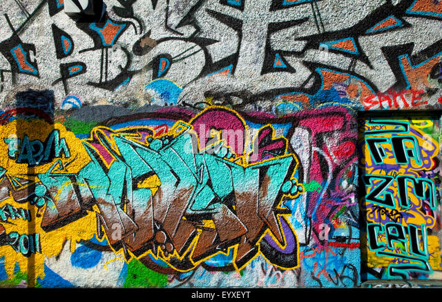 The U2 Graffiti Wall, part of Windmill Lane Studios, Dublin City, Ireland; sadly demolished in 2015 . - Stock Image