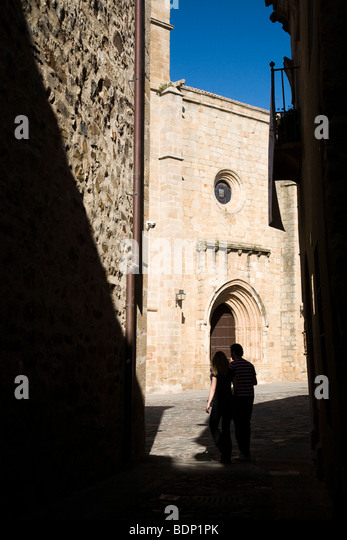 The Cathedral at the end of a narrow street, Caceres, Spain - Stock-Bilder