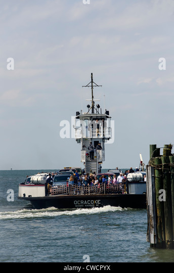 Crowded Hatteras Car Ferry to Ocracoke Island North Carolina Outer Banks - Stock Image