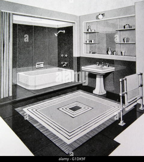 Illustration of a 1950s modern bathroom. - Stock Image