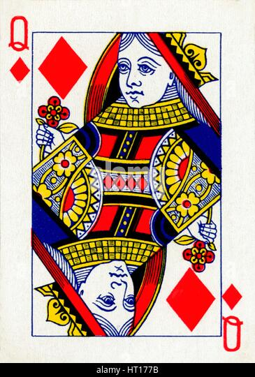 Queen of Diamonds from a deck of Goodall & Son Ltd. playing cards, c1940. Artist: Unknown. - Stock Image